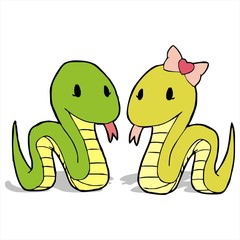 couple snake cartoon vector