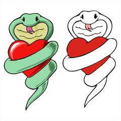 snake hug heart cartoon vector