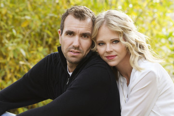 Portrait of a beautiful young couple outdoors