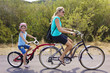 Family on a tandem bicycle ride