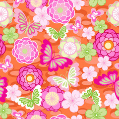 cute Asian floral seamless background
