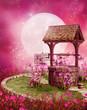 Stara studnia w różowej scenerii