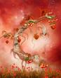 Magiczne drzewo z owocami na czerwonym tle