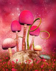 Różowe grzyby na łące z makami
