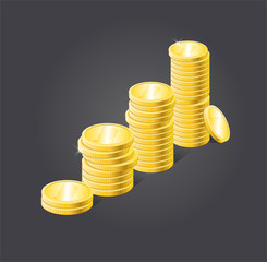 Vector coins stack