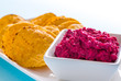 Beetroot Dip with Tortilla Chips