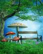Magiczna łąka z grzybami, drzewem i ławką