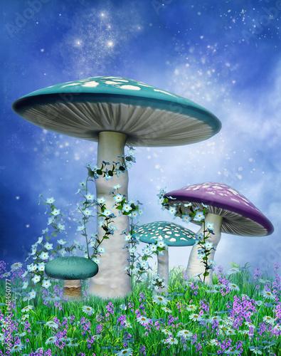 Kolorowe grzyby na niebieskim tle