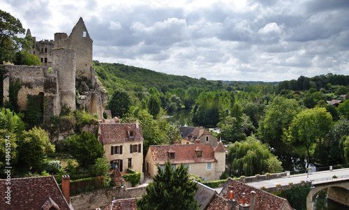Medieval French Riverside Village with ruined Castle