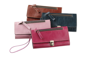 Set of colorful leather lady purses