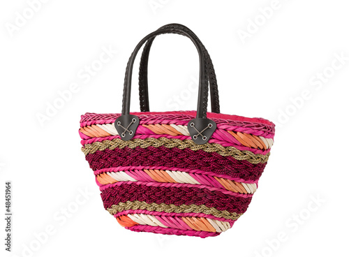 Colorful weaved dried water hyacinth lady handbag