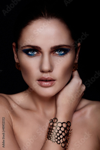 glamor sexy model with bright blue makeup