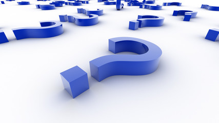 3d question marks in perspective