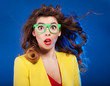 Colorful portrait of an attractive surprised girl