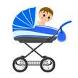 Cute baby boy sitting in stroller. Illustration