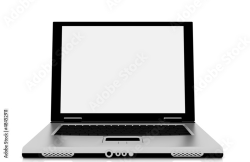 Laptop isolation photo with empty white display