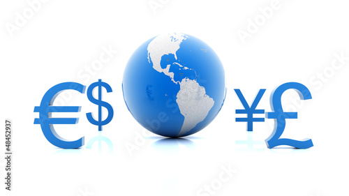 Currency symbols moving around planet Earth
