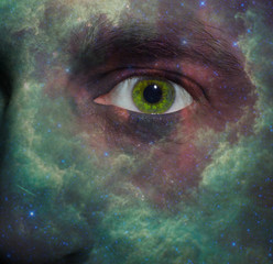 Nebula painted on a face