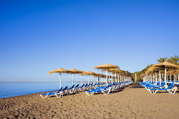 Sun Loungers on a Beach in Marbella