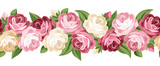 Fototapety Horizontal seamless background with roses. Vector illustration.