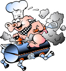 Vector illustration of an Chef  Pig riding an BBQ barrel
