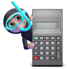 Scuba guy with a calculator