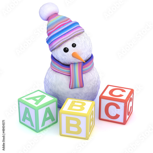 Snowman learns the alphabet