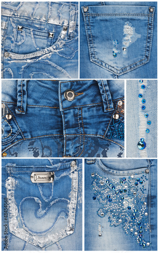 Fashion light blue jeans pockets