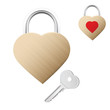 Realistic looking gold lock shaped as heart