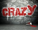 Graffiti wall with crazy, street background - 48456370