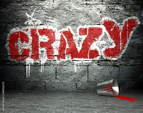 Fototapeta Graffiti wall with crazy, street background