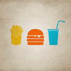 french fries, burger & soda 1 - canvas version
