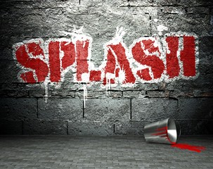 Graffiti wall with splash, street background