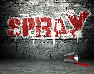 Graffiti wall with spray, street background