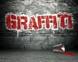 Graffiti wall with word, street background