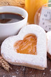 heart shape biscuit and coffee