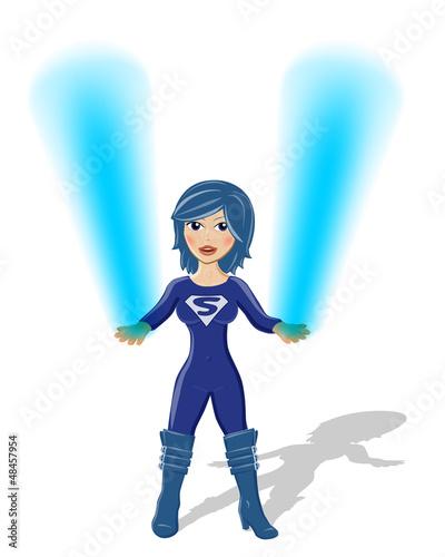 Supergirl Vektor mit blauem Feuer in den Händen