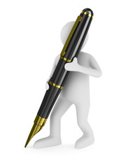 man with fountain pen on white background. Isolated 3D image