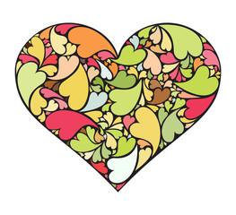 Retro heart made of small hearts