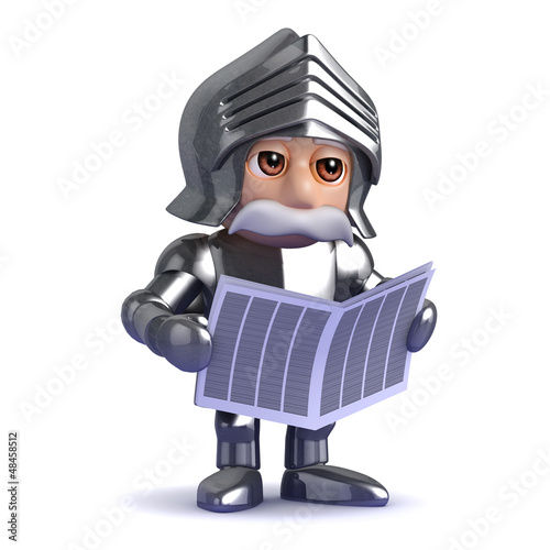 Knight reads the newspaper