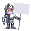 Knight holds a placard