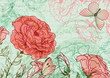 Grungy retro background with roses and butterflies