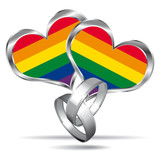Fototapety Gay marriage symbol with white gold rings.