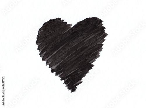 schwarzes herz auf wei em papier aquarell handgemalt von kasparart lizenzfreies foto 48458762. Black Bedroom Furniture Sets. Home Design Ideas