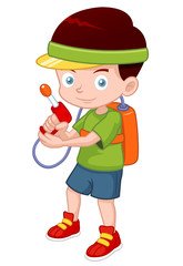 illustration of Cartoon boy with toy gun