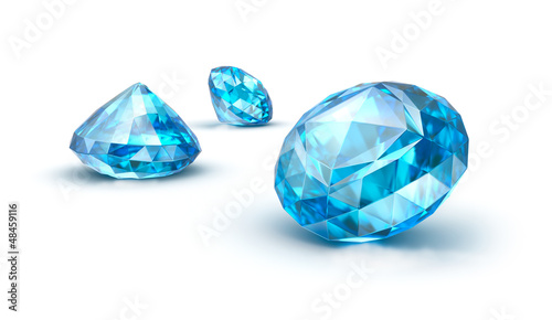 Blue gemstones isolated on white. Sapphire. Topaz. Tanzanite