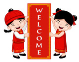 Chinese Kids with Welcome sign