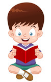 illustration of Boy reading book