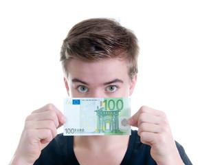 Teenager mit 100 Euro Schein