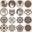 Decorative Ornaments Set of Design Elements, japanese type